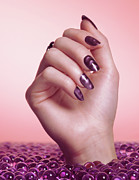 Nail Polish Colors Art - Woman Hand With Purple Nail Polish by Oleksiy Maksymenko