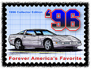 Corvette Postage Stamps Series - 1996 Collector Edition Corvette by K Scott Teeters
