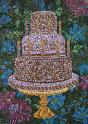 Tray Paintings - Birthday Cake by Erika Pochybova-Johnson