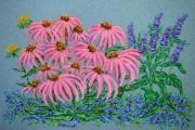 Botanical Pastels Posters - Coneflowers and Blues Poster by Collette Hurst