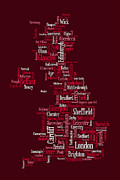 Word Map Posters - Great Britain UK City Text Map Poster by Michael Tompsett