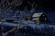 Nobody Prints - Snowy winter scene of a cabin in distance  Print by Sandra Cunningham