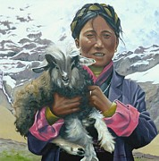 Himalaya Paintings - Tibetan Nomad with Lamb by Birgit Coath