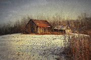 Weathered Prints - Abandoned barn with snow falling Print by Sandra Cunningham