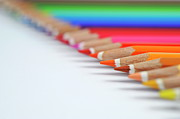 Colored Pencil Art - Row of colorful crayons by Sami Sarkis