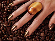 Cofee Framed Prints - Woman Hands in Coffee Beans Framed Print by Oleksiy Maksymenko
