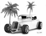 Coupe Drawings Acrylic Prints - 33 Ford Coupe Acrylic Print by Peter Piatt
