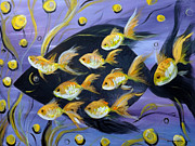 Fish Original Paintings And Digital Art - 8 Gold Fish Print by Gina De Gorna
