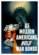 Statue Of Liberty Metal Prints - 85 Million Americans Hold War Bonds  Metal Print by War Is Hell Store