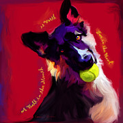 Canines Digital Art - A Ball in the Mouth by Laurie Cook