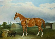 John E Ferneley - A Chestnut Hunter and a Spaniel by Farm...