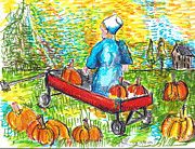 Amish Farms Drawings Prints - A Childs Joy  Print by Jon Baldwin  Art