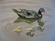 Duck Pastels - A day on the pond by Vanderbill King