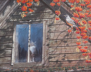 Cabin Window Paintings - A  Feast for the Eyes by Mike Stinnett