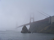 Sausalito Framed Prints - A Foggy Golden Gate Framed Print by Nancy Chambers