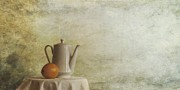 Textures Prints - A Jugful Tea And A Orange Print by Priska Wettstein