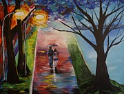 Couples Embracing Originals - A Lovely Lake Stroll  by Leslie Allen