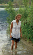Woman In Water Painting Posters - A Quiet Place Poster by Doug Kreuger