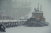 Snow Scenes Prints - A Tugboat And Freighter At Dock Print by Medford Taylor