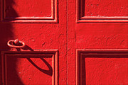 Painted Details Framed Prints - A Very Red Door Framed Print by Robert Ullmann