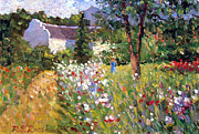 Impressionism Oil Paintings - A Walk in the Garden by Roelof Rossouw