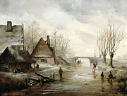 Dutch School - A Winter Landscape with Figures Skating