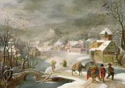 Denys van Alsloot - A Winter Landscape with Travellers on a...