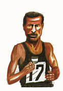Sports Drawings Framed Prints - Abebe Bikila Framed Print by Emmanuel Baliyanga