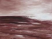Sunsets Original Paintings - Abstract Sunset in Brown Reds by Gina De Gorna