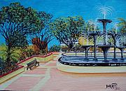 Puerto Rico Paintings - Aguadilla Plaza 2009 by Gloria E Barreto-Rodriguez
