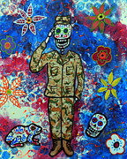 Us Army Air Force Paintings - Air Force Day Of The Dead by Pristine Cartera Turkus