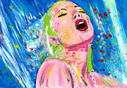Nude Woman In Water Originals - Aj3 by Karen Elzinga