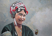 Tim Houghton - Akha Lady with Pipe