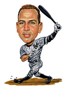 Major League Baseball Painting Prints - Alex Rodriguez Print by Art  