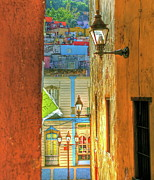 Streetlight Mixed Media Prints - Alley View Mexico Print by Anthony George