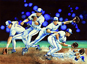 Baseball Art Print Painting Metal Prints - Alomar On Second Metal Print by Hanne Lore Koehler