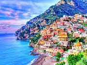 Terraced Houses Painting Framed Prints - Amalfi Coast at Positano Framed Print by Dominic Piperata
