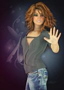 3d Graphic Digital Art - Amelie in Jeans by Jutta Maria Pusl