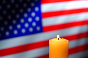 Honor Photos - American Flag and Candle by Olivier Le Queinec