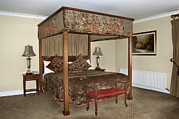 Chaise Prints - An Antique Style Four Poster Bed Print by Will Burwell