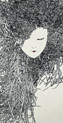 Japanese People Digital Art Posters - An Illustration Of A Womans Head With Long Thick Hair Made Up Of A Collection Of Grey Dots Poster by Nikolai Larin