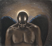 Black Art Pastels Posters - Angel Noir Poster by L Cooper