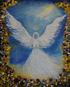 Guardian Angel Print Prints - Angels Prayer Print by Leslie Allen