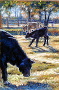 Yard Pastels Posters - Angus Calves out with Dad Poster by Denise Horne-Kaplan
