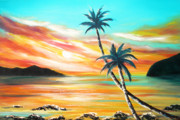 Sunsets Original Paintings - Another Sunset in Paradise by Gina De Gorna