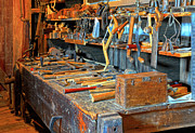 Coping Framed Prints - Antique Tool Bench Framed Print by Dave Mills