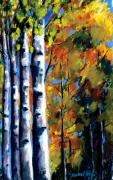 Fall Colors Pastels Posters - Arizona Aspens Poster by Sandra Ortega