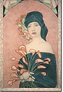 French Matting Paintings - Art Nouveau Caly Lilies by Dee Van Houten