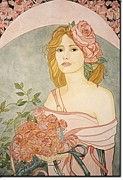 French Matting Paintings - Art Nouveau Roses by Dee Van Houten