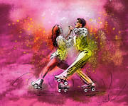 Sports Art Mixed Media - Artistic Roller Skating 01 by Miki De Goodaboom